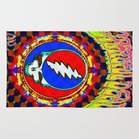 grateful dead Area & Throw Rugs featuring Grateful Dead #8 Optical Illusion Psychedelic Design by CAP Artwork & Design