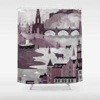travel poster Shower Curtains featuring Edinburgh Travel Poster Illustration by ClaireIllustrations