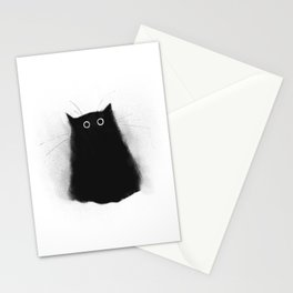 Fuzzy Black Cat Stationery Cards