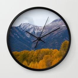 Autumn Leaves, Winter Mountains Wall Clock