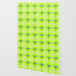 LIME GREEN COLOR BLUE  DRAGONFLY GEOMETRIC ART Wallpaper