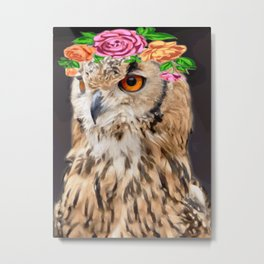 Owl With Floral Garland Metal Print