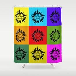 Supernatural Color Block Shower Curtain