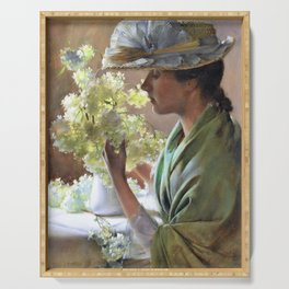 Charles Courtney Curran - Lady With A Bouquet - Digital Remastered Edition Serving Tray