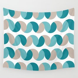 Abstract geometric waves teal & cream Wall Tapestry