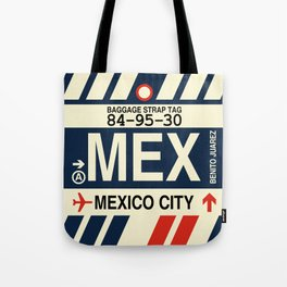 MEX Mexico City • Airport Code and Vintage Baggage Tag Design Tote Bag