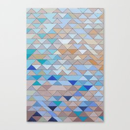 Triangle Pattern no.1 Blues and Browns Canvas Print
