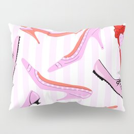 Pink Stiped Shoe And High Heel Pattern Pillow Sham