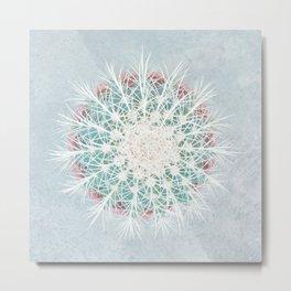 Cactus mandala - aqua mist concrete Metal Print