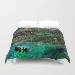 Tale of the Red Swans Duvet Cover