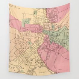 Vintage Map of Worcester MA (1871) Wall Tapestry