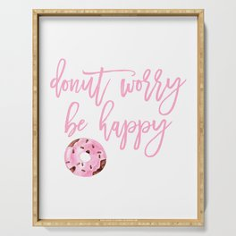 Donut Poster, Donut Worry Be Happy, Home Decor, Pink Poster, Girls Room Decor Serving Tray
