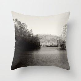 Black & White Lake Throw Pillow