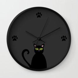 Minimal Black Kitty Wall Clock