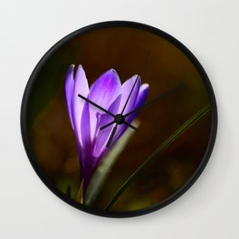 Bright Purple Spring Crocus Wall Clock