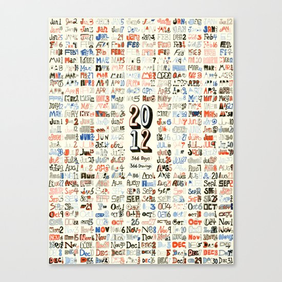 2012 Calendar // 366 Days // 366 Drawings Canvas Print