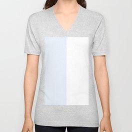 White and Pastel Blue Vertical Halves Unisex V-Neck