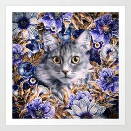 Cat in Flowers. Autumn Art Print