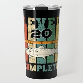 Level 20 Complete Fisherman Birthday Vintage Trout Travel Mug