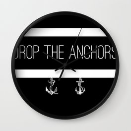 Drop The Anchors Stripes in White Wall Clock