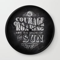 courage Wall Clocks featuring Courage by JenHoney