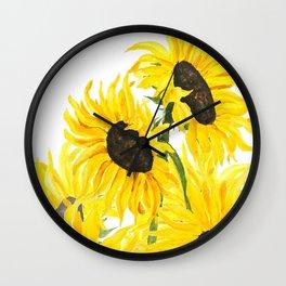 sunflower watercolor 2017 Wall Clock