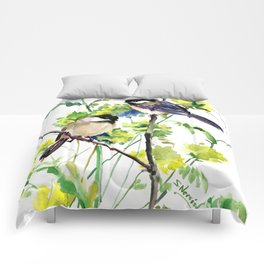 chickadees and Spring Blossom Comforters