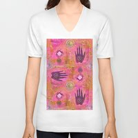 hands V-neck T-shirts featuring Hands by LebensART