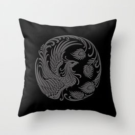 Traditional Gray and Black Chinese Phoenix Circle Throw Pillow
