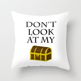 Don't look at my chest Throw Pillow
