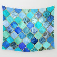 hippy Wall Tapestries featuring Cobalt Blue, Aqua & Gold Decorative Moroccan Tile Pattern by micklyn