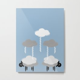 Wooly weather - Sheep Rain Clouds Metal Print