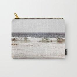 Neutral Ocean Landscape Photography, Grey Seascape Art, Gray Sea Beach Photo, Coastal Print Carry-All Pouch