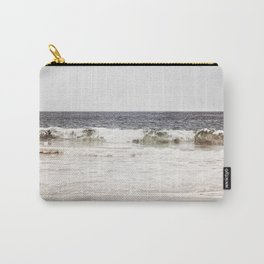 Neutral Ocean Landscape Photography, Grey Seascape Art, Gray Sea Beach Photo, Coastal Print Carry-All Pouch