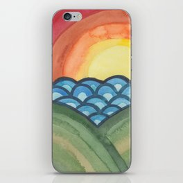 Psychedelic Sunset - Abstract Watercolor Landscape iPhone Skin