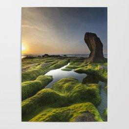 Sunset on Rocky Seashore Poster