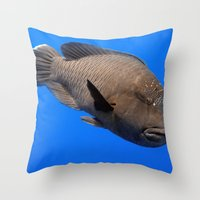 napoleon Throw Pillows featuring Napoleon Wrasse by Serenity Photography