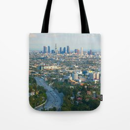 Los Angeles Skyline and Los Angeles Basin Panorama Tote Bag