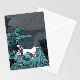 Woman Wolf wandering Stationery Cards