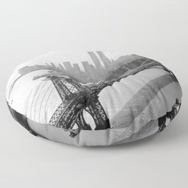 Williamsburg Bridge, East River at South Sixth St. & Twin Towers, New York City skyline photograph Floor Pillow