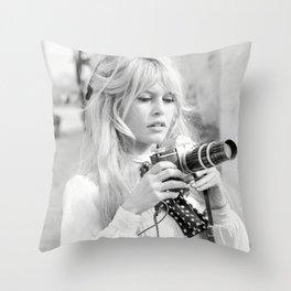 Brigitte Bardot with Camera , Vintage Actress , Poster, Style print, Fashion photography Throw Pillow