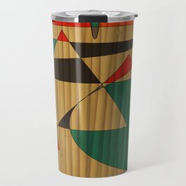Southwestern Triangle Design with Bamboo Texture Travel Mug