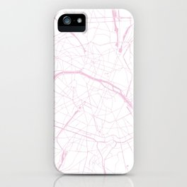 Paris France Minimal Street Map - Pretty Pink and White iPhone Case