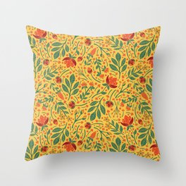 Yellow, Orange, Red, & Teal Light Floral Pattern Throw Pillow