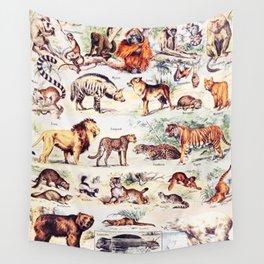 Vintage Antique Wildlife Encyclopedia Print Wall Tapestry
