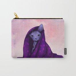 Snug Bug - Black Sphynx Cat Snugged in a Purple Heart Print Blanket Carry-All Pouch