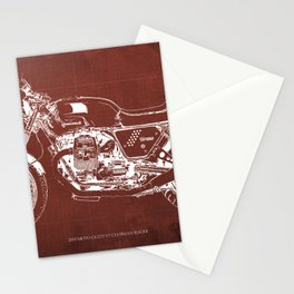 2010 Moto Guzzi V7 Clubman Racer red blueprint Stationery Cards