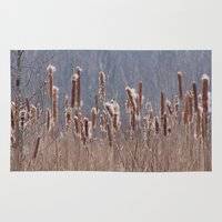 furry Area & Throw Rugs featuring Furry Cattails by DanByTheSea