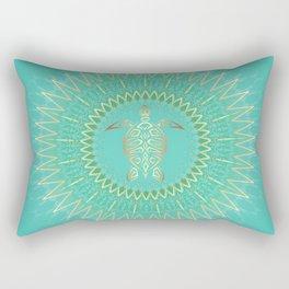 Turquoise Gold Mandala Turtle Rectangular Pillow