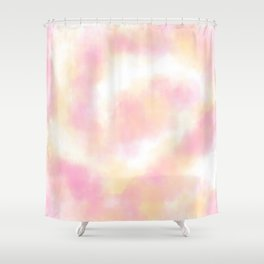 Spring pink peach abstract watercolor wash Shower Curtain